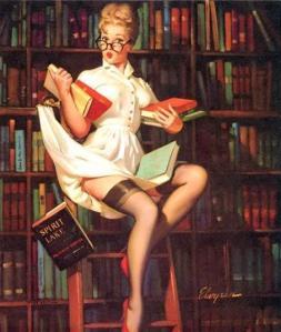 Elvgren Library Pinup Girl